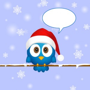 Cute blue christmas bird with speech bubble