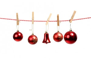 Christmas tree ornaments on the clothesline