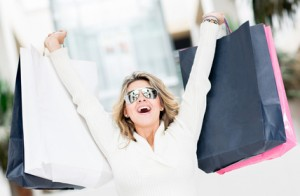 Woman enjoying summer sales