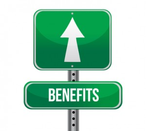 benefits road sign