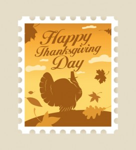 Happy Thanksgiving postage stamp.