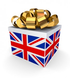 Giftbox with a british flag.