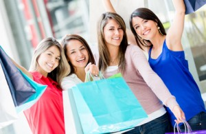 Happy group of shopping women