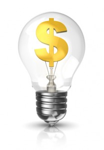 3d light bulb with a dollar sign in gold