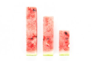 Watermelon pieces arranged as bar chart. Fresh summer business concept..
