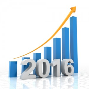 2016 growth chart, 3d render, white background