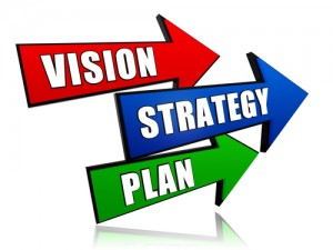 vision, strategy, plan - text in 3d red, blue and green arrows