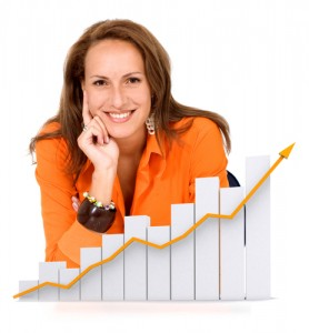 business woman happy with her growth and success - isolated over a white background