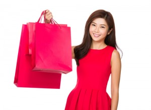 Woman hold with shopping bag