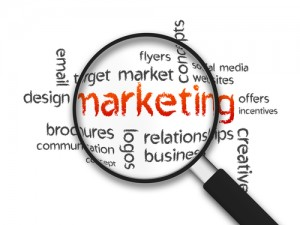 Magnified illustration with the word Marketing on white background.