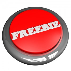 Freebie button, isolated over white, 3d render