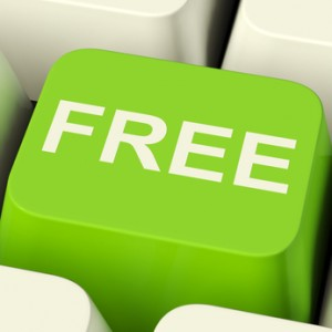 Free Computer Key In Green Showing Freebie and Promos