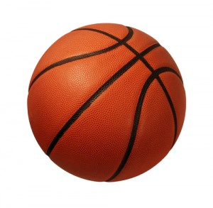 Baskeball isolated on a white background as a sports and fitness symbol of a team liesure activity playing with a leather ball dribbling and passing in competition tournaments.